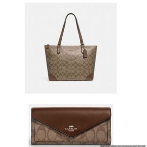 Coach Zipup Tote & Wallet / Signature Canvas Combo